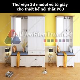 Thư viện 3d model về tủ giày cho thiết kế nội thất p63