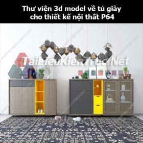Thư viện 3d model về tủ giày cho thiết kế nội thất p64