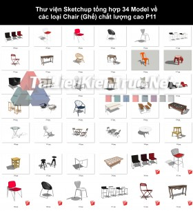 Thư viện Sketchup tổng hợp 34 Model về các loại Chair (Ghế) chất lượng cao P11