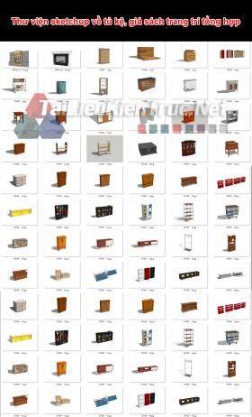 Thư viện sketchup về tủ kệ, giá sách trang trí tổng hợp