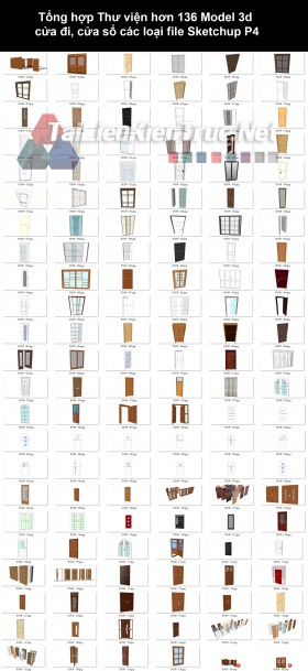 Tổng hợp Thư viện hơn 136 Model 3d cửa đi, cửa sổ các loại file Sketchup P4