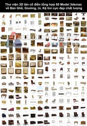 Thư viện 3D tân cổ điển tổng hợp 65 Model 3dsmax về Bàn Ghế, Giường, tủ, Kệ tivi cực đẹp chất lượng