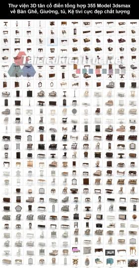 Thư viện 3D tân cổ điển tổng hợp 355 Model 3dsmax về Bàn Ghế, Giường, tủ, Kệ tivi cực đẹp chất lượng