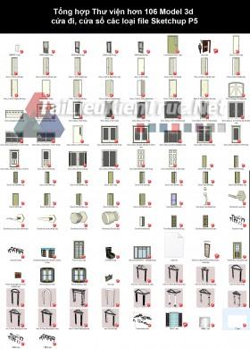 Tổng hợp Thư viện hơn 106 Model 3d cửa đi, cửa sổ các loại file Sketchup P5