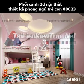 Phối cảnh 3d nội thất thiết kế phòng ngủ trẻ con 00023