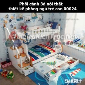 Phối cảnh 3d nội thất thiết kế phòng ngủ trẻ con 00024