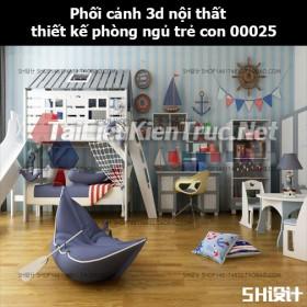 Phối cảnh 3d nội thất thiết kế phòng ngủ trẻ con 00025