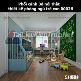 Phối cảnh 3d nội thất thiết kế phòng ngủ trẻ con 00026