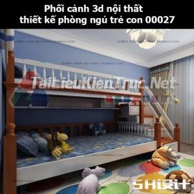 Phối cảnh 3d nội thất thiết kế phòng ngủ trẻ con 00027