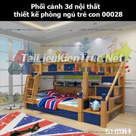 Phối cảnh 3d nội thất thiết kế phòng ngủ trẻ con 00028