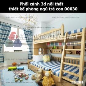 Phối cảnh 3d nội thất thiết kế phòng ngủ trẻ con 00030