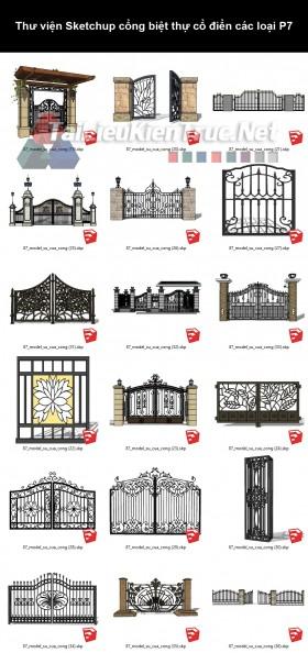 Thư viện Sketchup cổng biệt thự cổ điển các loại P7