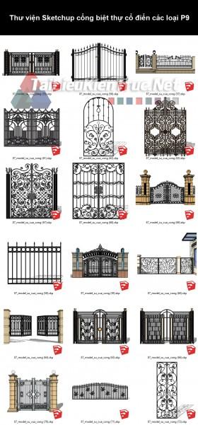 Thư viện Sketchup cổng biệt thự cổ điển các loại P9