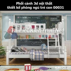 Phối cảnh 3d nội thất thiết kế phòng ngủ trẻ con 00031