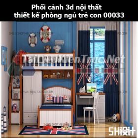 Phối cảnh 3d nội thất thiết kế phòng ngủ trẻ con 00033