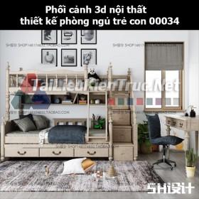 Phối cảnh 3d nội thất thiết kế phòng ngủ trẻ con 00034