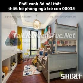 Phối cảnh 3d nội thất thiết kế phòng ngủ trẻ con 00035