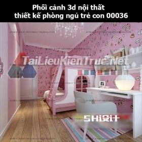 Phối cảnh 3d nội thất thiết kế phòng ngủ trẻ con 00036