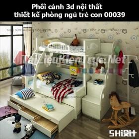 Phối cảnh 3d nội thất thiết kế phòng ngủ trẻ con 00039