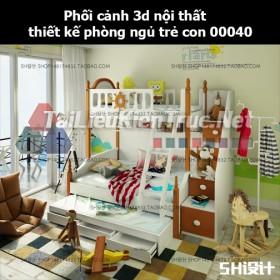 Phối cảnh 3d nội thất thiết kế phòng ngủ trẻ con 00040