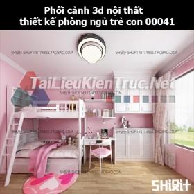 Phối cảnh 3d nội thất thiết kế phòng ngủ trẻ con 00041