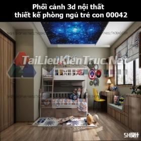 Phối cảnh 3d nội thất thiết kế phòng ngủ trẻ con 00042