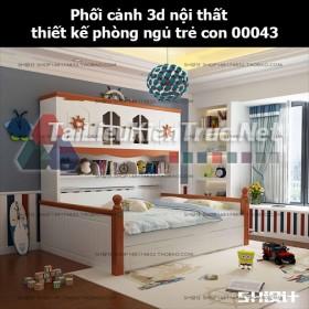 Phối cảnh 3d nội thất thiết kế phòng ngủ trẻ con 00043