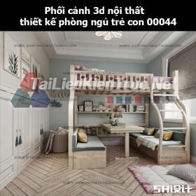 Phối cảnh 3d nội thất thiết kế phòng ngủ trẻ con 00044