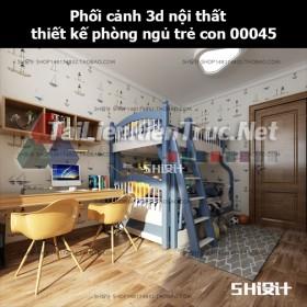 Phối cảnh 3d nội thất thiết kế phòng ngủ trẻ con 00045