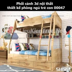 Phối cảnh 3d nội thất thiết kế phòng ngủ trẻ con 00047