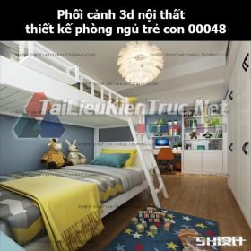 Phối cảnh 3d nội thất thiết kế phòng ngủ trẻ con 00048