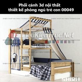 Phối cảnh 3d nội thất thiết kế phòng ngủ trẻ con 00049