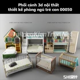 Phối cảnh 3d nội thất thiết kế phòng ngủ trẻ con 00050