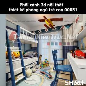 Phối cảnh 3d nội thất thiết kế phòng ngủ trẻ con 00051
