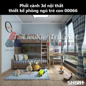 Phối cảnh 3d nội thất thiết kế phòng ngủ trẻ con 00066