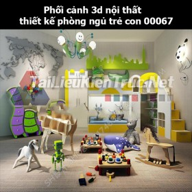 Phối cảnh 3d nội thất thiết kế phòng ngủ trẻ con 00067