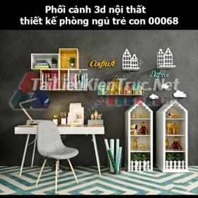 Phối cảnh 3d nội thất thiết kế phòng ngủ trẻ con 00068