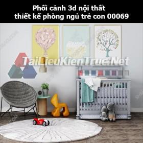 Phối cảnh 3d nội thất thiết kế phòng ngủ trẻ con 00069