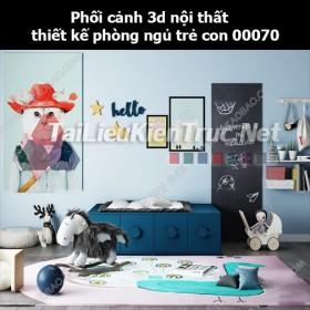 Phối cảnh 3d nội thất thiết kế phòng ngủ trẻ con 00070