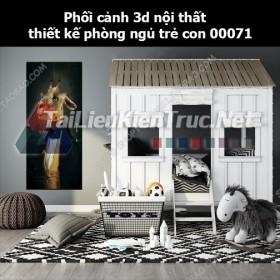 Phối cảnh 3d nội thất thiết kế phòng ngủ trẻ con 00071