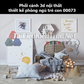 Phối cảnh 3d nội thất thiết kế phòng ngủ trẻ con 00073
