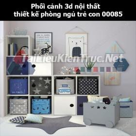 Phối cảnh 3d nội thất thiết kế phòng ngủ trẻ con 00085