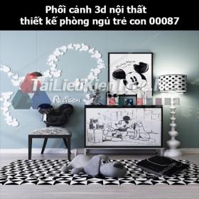 Phối cảnh 3d nội thất thiết kế phòng ngủ trẻ con 00087