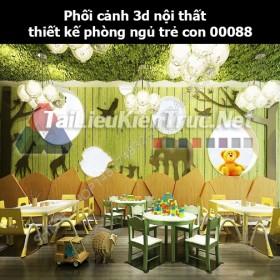 Phối cảnh 3d nội thất thiết kế phòng ngủ trẻ con 00088