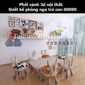 Phối cảnh 3d nội thất thiết kế phòng ngủ trẻ con 00090