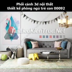 Phối cảnh 3d nội thất thiết kế phòng ngủ trẻ con 00092