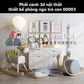Phối cảnh 3d nội thất thiết kế phòng ngủ trẻ con 00093