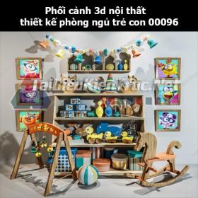 Phối cảnh 3d nội thất thiết kế phòng ngủ trẻ con 00096
