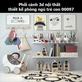 Phối cảnh 3d nội thất thiết kế phòng ngủ trẻ con 00097
