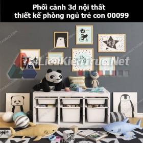 Phối cảnh 3d nội thất thiết kế phòng ngủ trẻ con 00099